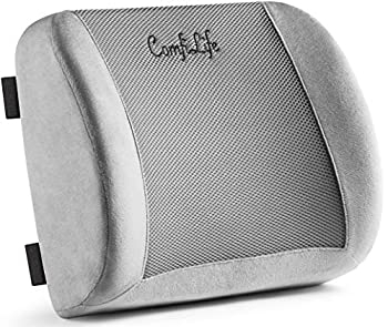 ComfiLife Lumbar Support Back Pillow Office Chair and Car Seat Cushion - Memory Foam with Adjustable Strap and Breathable 3D Mesh  Grey