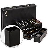 Yellow Mountain Imports Japanisches Riichi Mahjong Set - Schwarze Standardgröße Ziegel und Vinyl-Koffer - mit Ostwind-Ziegel, Set mit Wettstäben & Würfeln