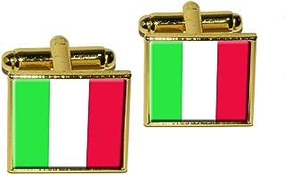 Italy Italian Flag Square Cufflink Set - Gold
