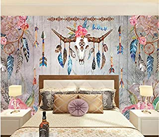 Murals Wall Wallpaper Photo Vintage Indian Tribal Feather Watercolor Deer Skull for Living Room Sofa Bedroom Tv Backdrop (W)400X(H)280Cm Solk Cloth