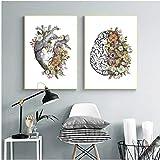 Jwqing Cuadros de Lienzo Vintage Anatomía Corazón Cerebro Estilo nórdico Arte de la Pared Pinturas Impresiones caseras Modernas Cartel Decoración de la clínica (40x60cmx2 Sin Marco)