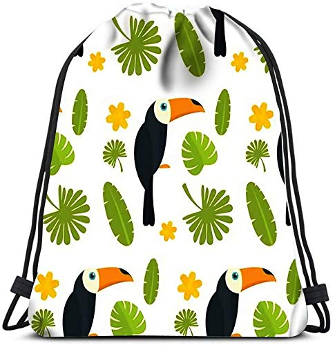 Drawstring Backpack, Toucan Parrot Bird Flat Of 4 For Laundry Bag Gym Yoga Bag