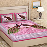 Urban Magic® 104 TC 100% Cotton Double BEDSHEET with 2 Pillow Covers - Pink