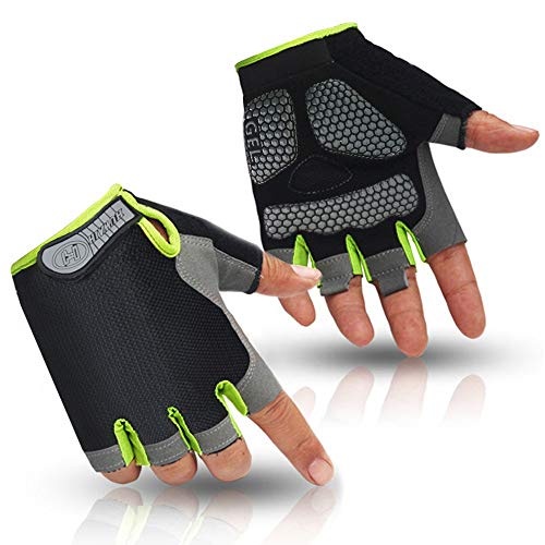 HuwaiH Cycling Gloves Men's/Women's Mountain Bike Gloves Half Finger Biking Gloves Anti Slip Shock Absorbing Gel Pad Breathable Cycle Gloves