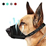 Yosupsecy Dog Muzzles, Nylon Soft Dog Muzzle for Small Medium Large Dogs, Air Mesh Breathable Drinkable and Adjustable Loop, Puppy Muzzle Anti-Biting Barking Chewing, 4 Colors 4 Sizes