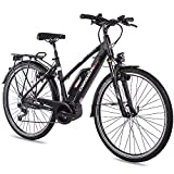 CHRISSON 28 Zoll Damen Trekking- und City-E-Bike - E-Rounder schwarz matt - Elektro Fahrrad Damen - 9 Gang Shimano Deore Kettenschaltung - Pedelec mit Bosch Mittelmotor Active Line 250W, 40Nm