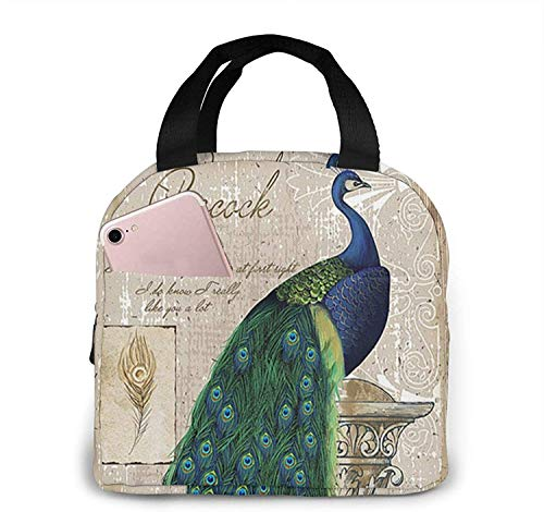 Animal Peacock Lunch Bag Tote Bag Lunch Box Insulated Lunch Container for Woman Man