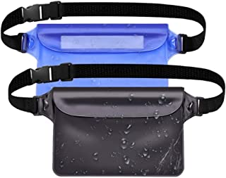HouseHoo Waterproof Pouch for Swimming, Waterproof Cell Phone Pouch, Beach Bag Waterproof, Waterproof Valuable Case Pouch with Waist Strap, 2 Pack Waterproof Bag for Valuables, Perfect for Water Sport