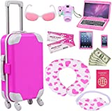 ZITA ELEMENT 16 Pcs American 18 Inch Doll Suitcase Luggage Travel Set for Girl 18' Doll Travel Carrier Storage, Including Suitcase Pillow Blindfold Sunglasses Camera Computer Cell Phone Ipad,ect