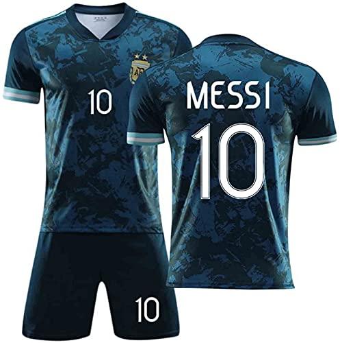 2021 Méssi Argentinien und Fußballtrikot, Fußballtrikot für Erwachsene und Kinder, schnell trocknend und atmungsaktiv, Denim, Größe: L, Farbe: Blau