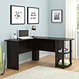 Wooden L-Shaped Desk with Large Workspace, with Side Storage for Easy Access of Materials, for Office or Home Use, Multiple Finishes (L: 53.62 x W: 51.31 x H: 28.31 in) (Dark Russet Cherry)