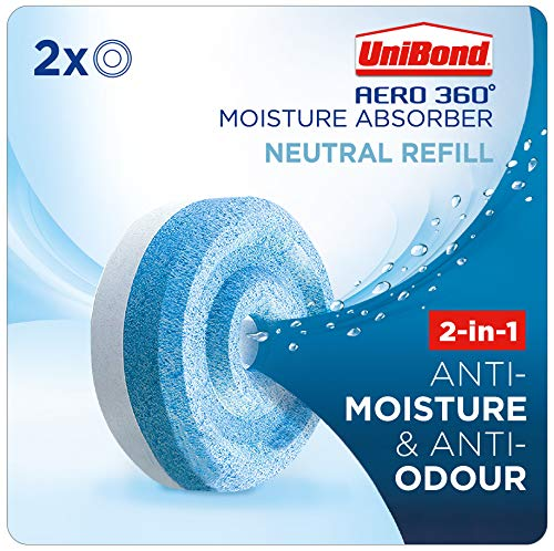 UniBond AERO 360° Moisture Absorber Neutral Refill Tab, ultra-absorbent and odour-neutralising, for AERO 360° Dehumidifier, Condensation Absorbers, Twin Pack (2 x 450g)