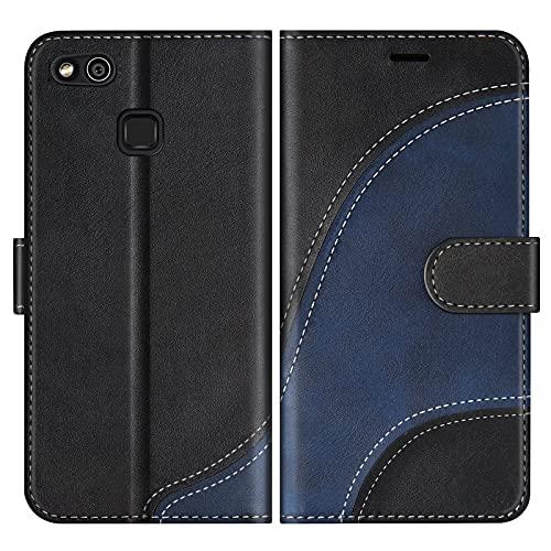 BoxTii Cover per Huawei P10 Lite, Custodia in PU Pelle Portafoglio per Huawei P10 Lite, Magnetica Cover a Libro con Slot per Schede, Nero