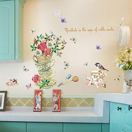 ELGDX Wandaufkleber Blumenvase Vögel Auf Kaffeetasse Löffel Und Geschirr Tapete Wohnzimmer Sofa Schlafzimmer Tv Hintergrund Dekoration Geschenk