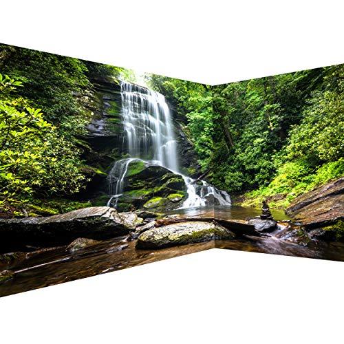 decomonkey Fototapete selbstklebend Wasserfall 539x250 cm Selbstklebende Tapeten Wand Eckfototapete Tapete Wandtapete klebend Klebefolie Wald Natur