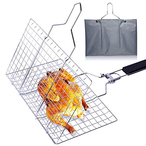 Panier à Poisson Pliable Portable BBQ Grill panier, net Clamp pliable 430 Grill barbecue en acier inoxydable panier rôti avec poignée en bois amovible et facile Sac de transport (32x 22cm)