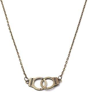 HUJUON Punk Freedom Handcuffs Pendant Necklace,Best Friend Loves Infinity Interlocking Circle Collar Statement Necklace fo...