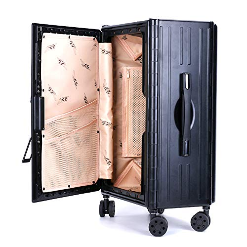 LiRongPing Large-capacity Trolley Black Suitcase Can Be Folded, with Code Lock