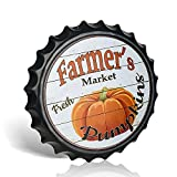 Farmer's Market - Tapas decorativas para botellas de metal, letreros de lata para café, cerveza, bar, decoración de pared de 40,6 cm, decoración vintage para el hogar