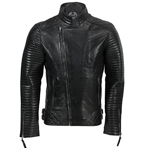 Xposed Chaqueta de piel auténtica para hombre, estilo retro, estilo Moto Cafe con cremallera cruzada, color marrón, color Negro, talla 5X-Large
