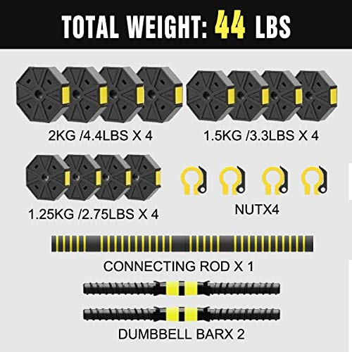 Mikolo Adjustable Dumbbells Barbell 3 in 1 with Connector, Adjustable Dumbbell Barbell Sets Total 44lbs,All-Purpose,Home,Gym Equipment and Office
