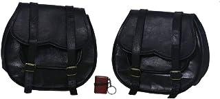 2 x Motorrad Schutzhülle, Leder, SCHWARZ, Seitentasche für Satteltaschen (2 Taschen) für Motorrad Fahrrad