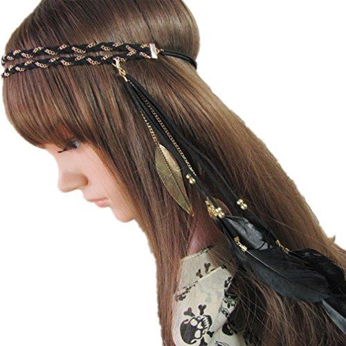 Amorar Vintage élastique Bandeau Accessoire Bandeau Plume Bandeau Party Plume Headpiece pour Les Femmes et Filles