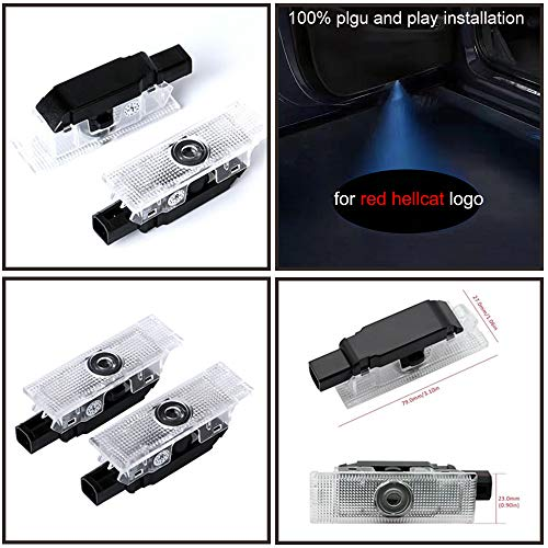special auto accessories 2pcs Set Car Door LED Projector Ghost Shadow Logo Light for Dodge Challenger SRT Hellcat red Color with no Fading Color Glass Slides