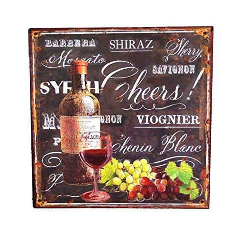 LB H&F Blechschild Blech Schild Küche Wein Metall XL Weinflasche Weinglas