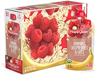 Happy Baby Organic Clearly Crafted Stage 2 Baby Food Bananas, Raspberries & Oats, 4 Ounce Pouch (Pack of 16)