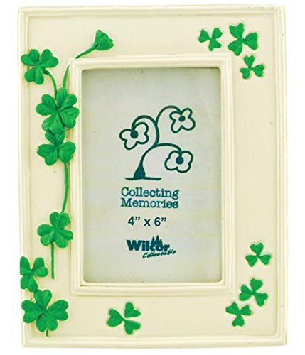 Home Axentz Green Clover Leaf Leaves Flower Collectible Photo Picture Frame, 4x6, St Patrick's Irish, Standing Table Top