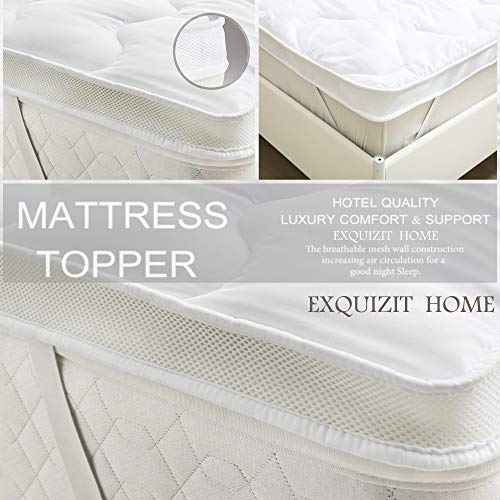 EXQUIZIT HOME Microfiber Mattress Topper 5cm Thickness Hollow Fibre Filling ANTI ALLERGIC Ultra Air Flow Mattress Protector Topper Single Bed 91cm x 193cm + 5cm Approximately.