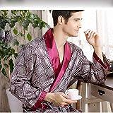N-B Bathrobe Men's Home Silk Nightgown Summer Thin Silk Long-Sleeved Pajamas Men's Plus Size