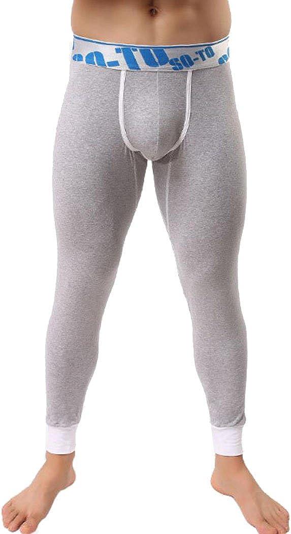 ECHOINE Men's Cotton Thermal Bottom Gray Asian M