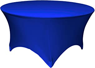 LA Linen Round Spandex Tablecloth, 60 by 30-Inch, Royal Blue