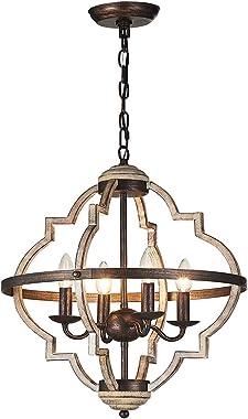 TZOE Orb 4-Light Metal Chandelier,RusticVintage Chandelier,Stardust Finish,Foyer Light,Adjustable Height,DiningRoomLightin
