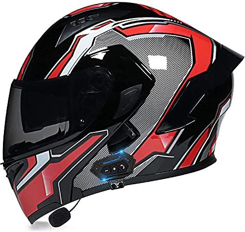 Egrus Casco Plegable de la Motocicleta integrada de la Motocicleta Casco Plegable de la Motocicleta con Anti-Niebla de Doble Cambio ECE Certificado L (Color : T, Size : XL)