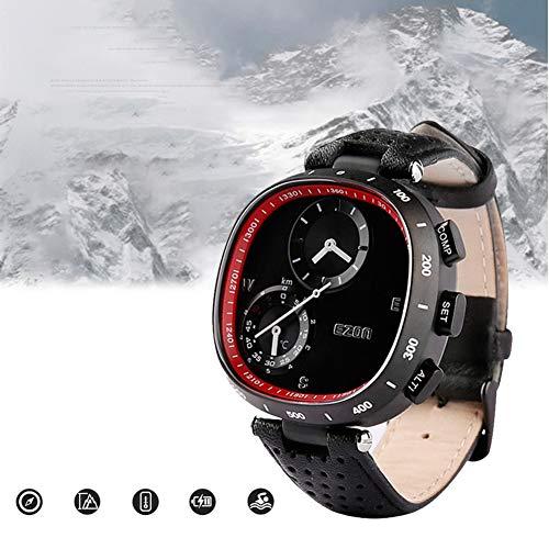 EnweTissu Reloj Digital Hombre,Reloj Deportivo al Aire Libre,Profesional Correa de PU,Reloj Altímetro Barómetro Brújula,Al Aire Libre Aventuras,50M Sumergible,Puntero Multifuncion Reloj de Alpinismo