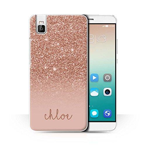 Personalisiert Hülle Für Huawei Honor 7i/ShotX Individuell Glitter Effekt Roségold Design Transparent Ultra Dünn Klar Hart Schutz Handyhülle Case