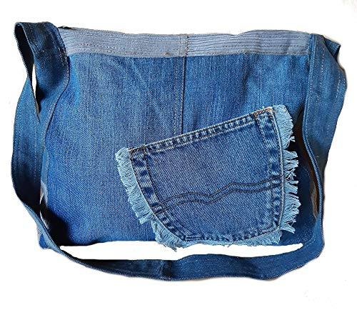 Handmade Boho Upcycling Jeans Damen Handtasche Unikat Leder Recycle Woman Bag Einzelstück handgenähte Tasche Bohemian