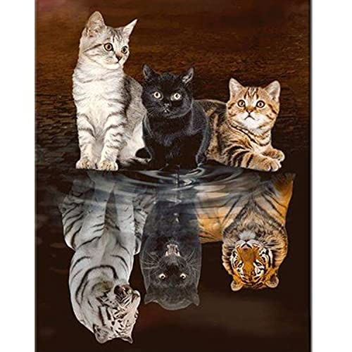 5D DIY Full Drill Diamond Painting Kits Three Cat Round Crystal Rhinestone Embroidery Painting Kits for Adults and Beginner Diamond Arts Craft,11.8×15.7in(Three Cat 5D Diamond Painting)