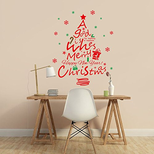 Große Weihnachten Serie Wandaufkleber roter Weihnachtsbaum Vitrinen dekorative Wandaufkleber