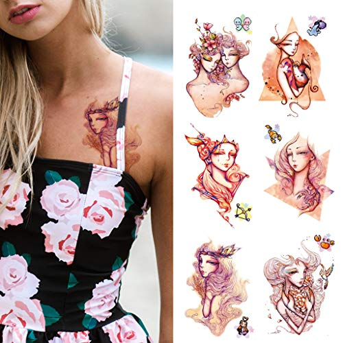 CARGEN 12 Hojas Constelación Tatuaje Temporal Virgo Leo PatróN Arte Corporal Pegatinas Realistas Tatuajes Falsos Para Mujeres