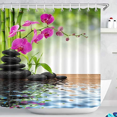 LB Spa Frühling Duschvorhang mit Haken, Bambus Orchidee Schwarzer Stein Bad Vorhang 180 x 180 cm Wasser Beständig Anti-Mehltau Waschbares Polyester Stoff