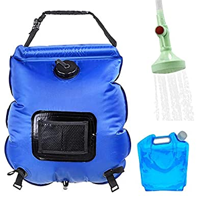 Andmax Portable Showers Solar Shower Bag - Hygiene 5 Gallons/20L Shower Bag & 5L Waterbag, with Removable Hose and On-Off Switchable Shower Head for Outdoor Traveling Hiking Summer Shower (Blue)