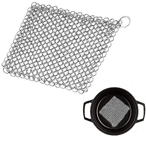 Cast Iron Chainmail Scrubber, Stainless Steel Mesh Scourer For Skillets, Cast Iron Skillet Cleaner And Long Handle Brush, Stainless Steel Scourer With Hanging Ring