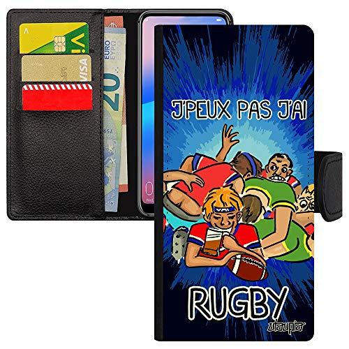 utaupia Schutzhülle für Xiaomi mi 9T, Leder, Klappdeckel, Kartenschlitz, Aufsteller von Karten 'J'peux pas J'Ai Rugby, witzig, Schutz XV aus Frankreich, Original Blau
