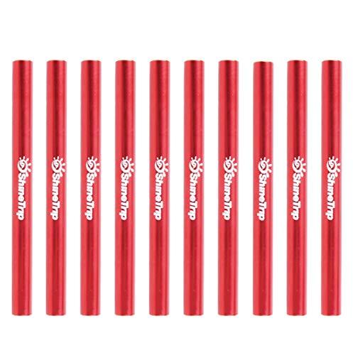 TRIWONDER Tube de Réparation Kit Réparation Tente Tube De Rechange Accessoires de Tente 4/10 Pièces pour Camping Poteau de Diamètre de 7,9-8,5 mm (Rouge - 10 Pièces)