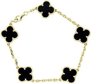 Red Black Onyx Malachite 18K Gold Plated Four-leaf Clover Bracelet/Classic Fashion 925 Sterling Silver 4 Leaf Clover Pendant Bracelets for Women&Girls