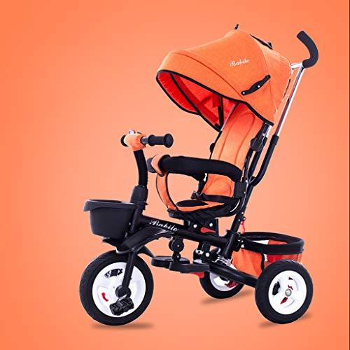 MAOSF Sillas de paseo Triciclo ligero para niños de 1-6 años, con toldo anti-ultravioleta, 6 colores opcionales (Color : Orange)